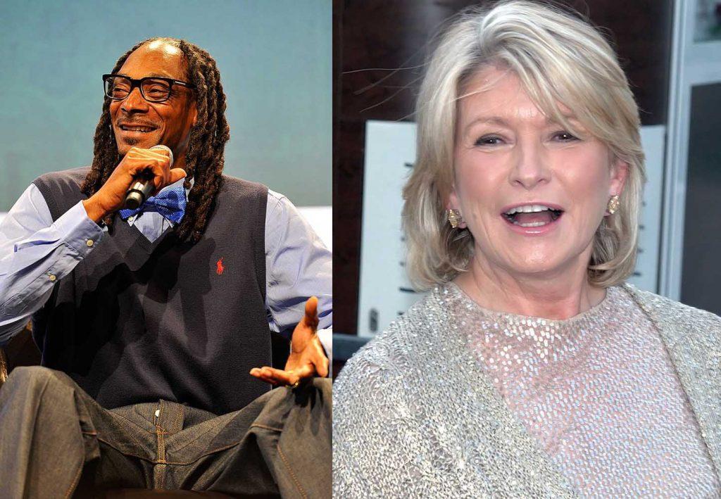 Rapper Snoop Dogg in 2015; Lifestyle maven Martha Stewart in 2009