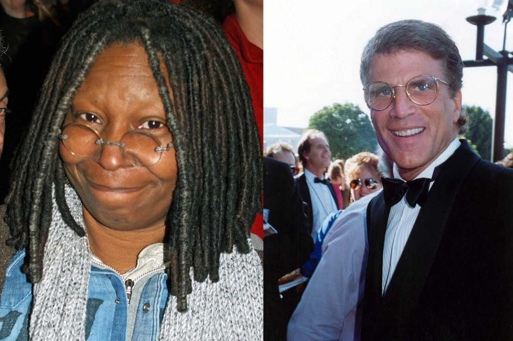 Whoopi Goldberg (L) and Ted Danson