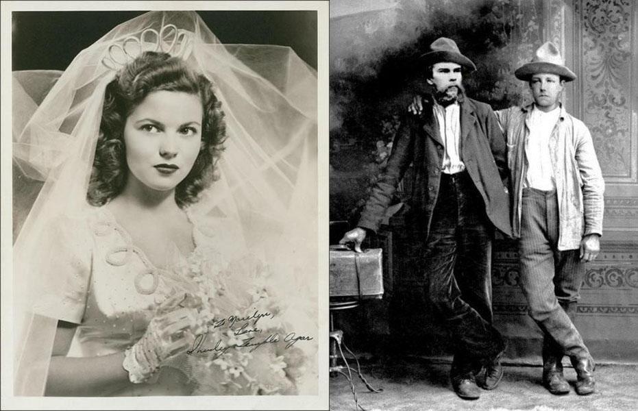 1945 wedding photo of Shirley Temple alongside an 1870s photo of Paul Verlaine and Arthur Rimbaud, with Rimbaud's arm around Verlaine's shoulders
